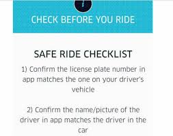 uber safe ride checklist
